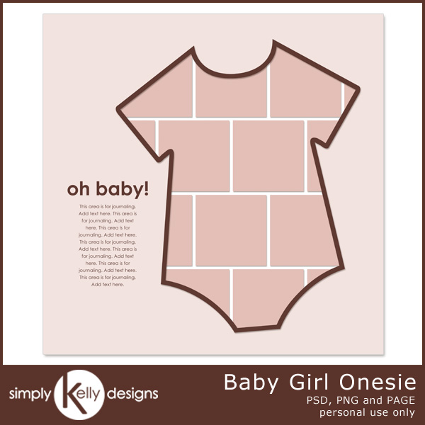 Baby Girl Onesie Digital Scrapbook Template by Simply Kelly Designs #digiscrap #onesie #template #baby