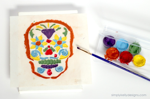 Sugar Skull Stenciled Canvas by Simply Kelly Design #sugarskull