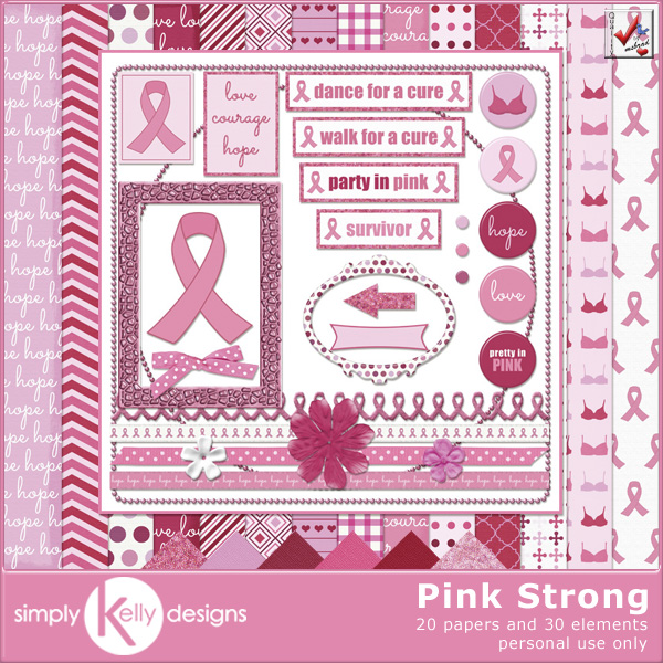 Pink Strong Digital Scrapbook Kit by Simply Kelly Designs #digiscrap #pinkribbon #breastcancerawareness #scrapbooking