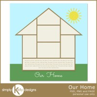 Our Home Digital Scrapbook Template by Simply Kelly Designs #digiscrap #freebie #blogtrain