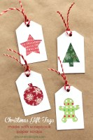 DIY Christmas Gift Tags With Scrapbook Paper Scraps And Free Cut File
