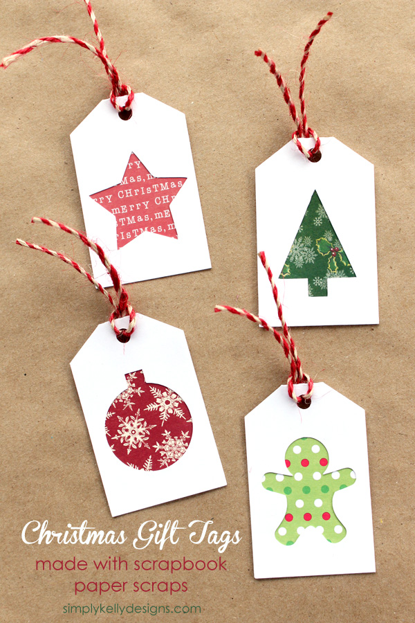 DIY Christmas Gift Tags With Scrapbook Paper Scraps And Free Cut File by Simply Kelly Designs #gifttags #Christmas #Silhouette #cutfile #holidaycraftparty