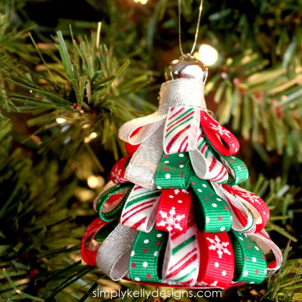 Create this DIY ribbon tree ornament with your favorite holiday ribbon!