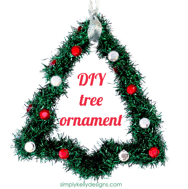 DIY Ribbon Wrapped Christmas Tree Ornament by Simply Kelly Designs #christmas #christmastree #ornament #ribbon #rhinestones