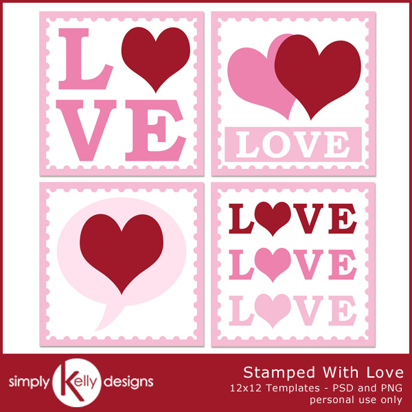 Stamped With Love Digital Scrapbook Templates by Simply Kelly Designs #digiscrap #templates #postagestamps #hearts #love