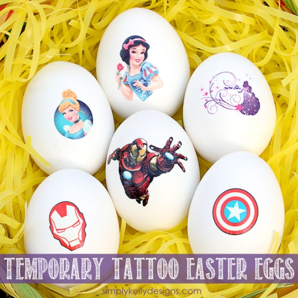 Your kids will love this quick and easy way to decorate Easter eggs! -> Easy Temporary Tattoo Easter Eggs by Simply Kelly Designs #Easter #EasterEgg #eggdecorating #temporarytattoos #simplykellydesigns