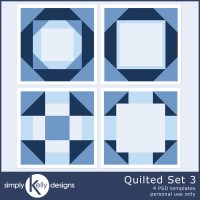 Quilted Template Set 3 Digital Scrapbook Templates