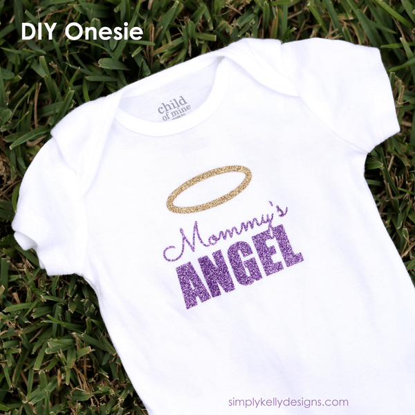 Use this tutorial and create a Mommy's ANGEL onesie as a baby shower gift or for the angel baby in your life #Silhouette