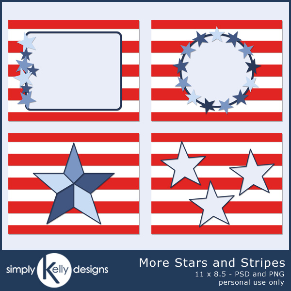 More Stars and Stripes 11 x 8.5 Templates by Simply Kelly Designs