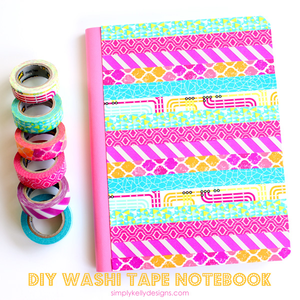 Vibrant DIY Washi Tape Composition Book by Simply Kelly Designs