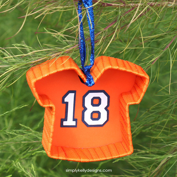 Create a DIY football jersey ornament to show your love for football. Change the colors to personalize for your team and dislay this proudly on your Christmas tree.