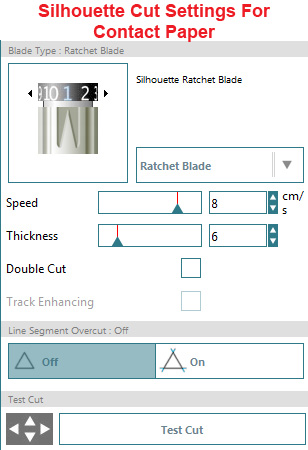 Silhouette Studio cut settings for contact paper