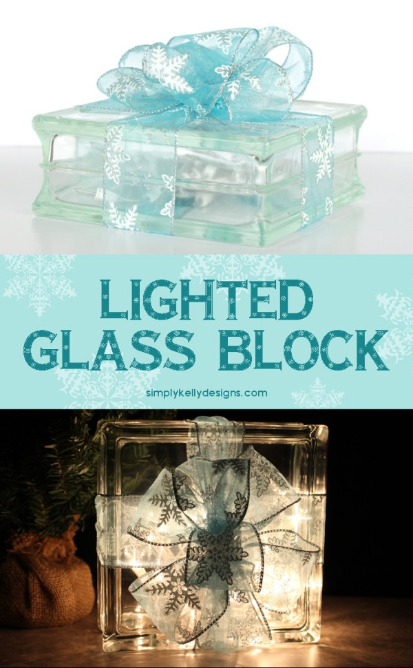 Create a lighted glass block that looks like a glowing Christmas present for your Christmas decor.