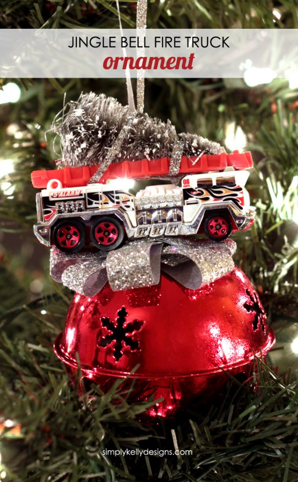 Create this DIY jingle bell fire truck ornament for a fire fighter or to add some festive bling to your Christmas tree