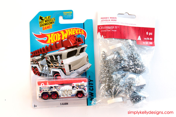 Supplies for jingle bell fire truck ornament
