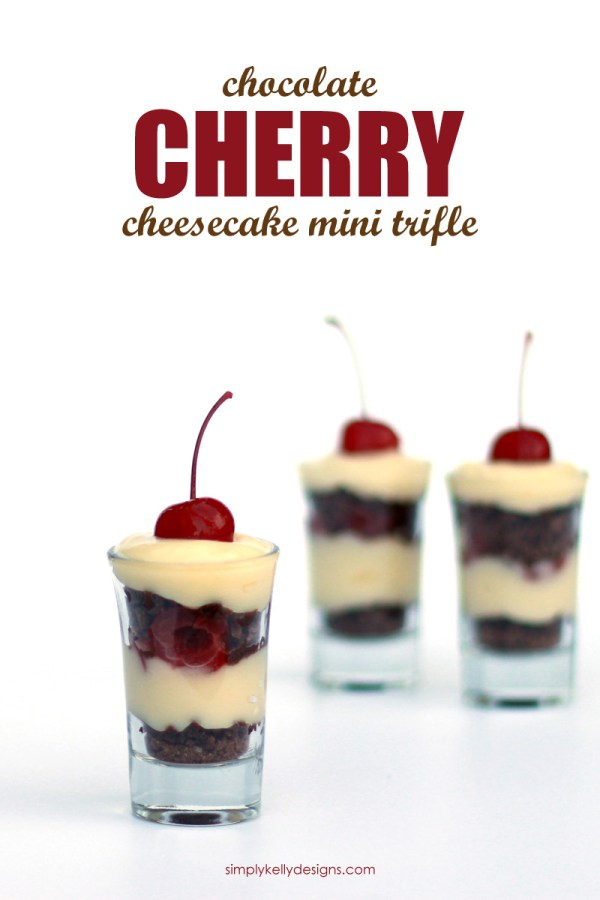 Create this easy and delicious chocolate cherry cheesecake mini trifle for dessert tonight!