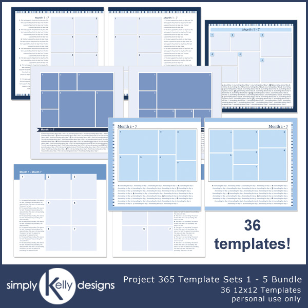 Project 365 Template Sets 1 - 5 by Simply Kelly Designs