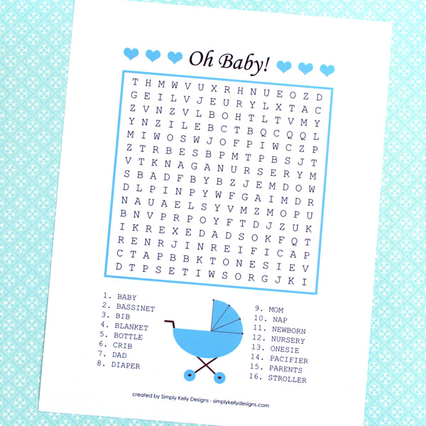 Download this free printable baby word search for your next baby shower.