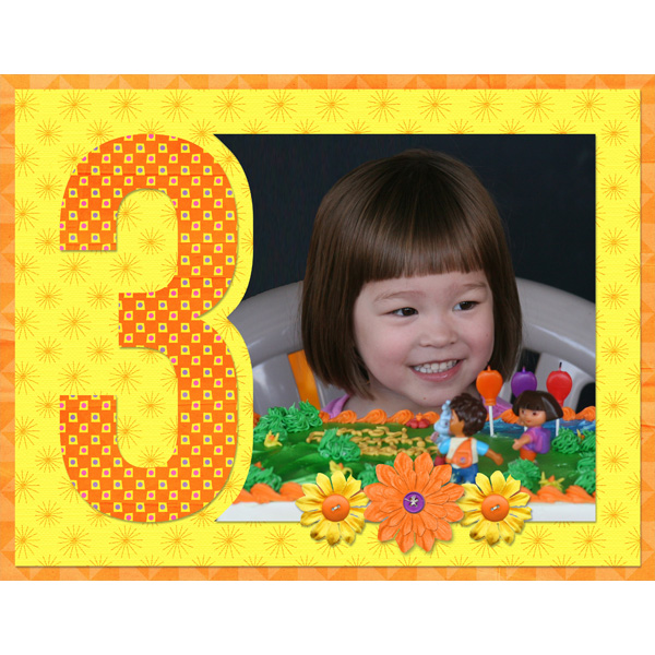 3rd birthday - Single Numbers 11x8.5 Templates by Simply Kelly Designs