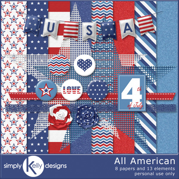 All American Digital Scrapbook Kit by Simply Kelly Designs