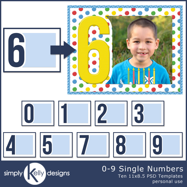 0-9 Single Numbers 11x8.5 PSD Templates by Simply Kelly Designs