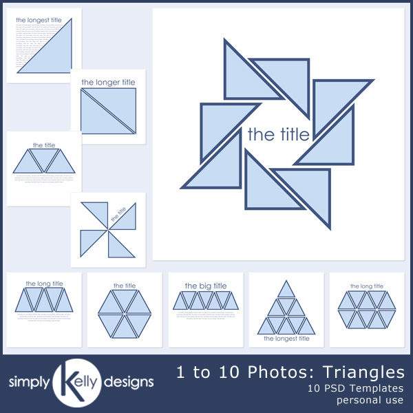 1 to 10 Photos - Triangles Digital Scrapbook Template Set by Simply Kelly Designs