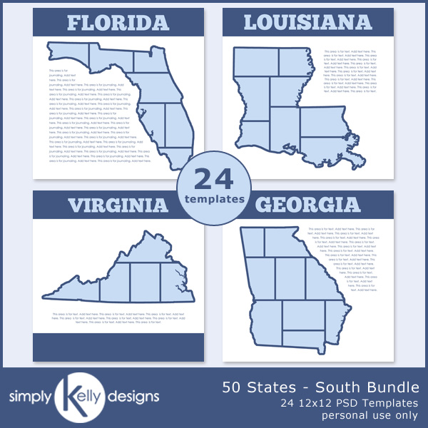 50 States - South Bundle digital scrapbook templates by Simply Kelly Designs