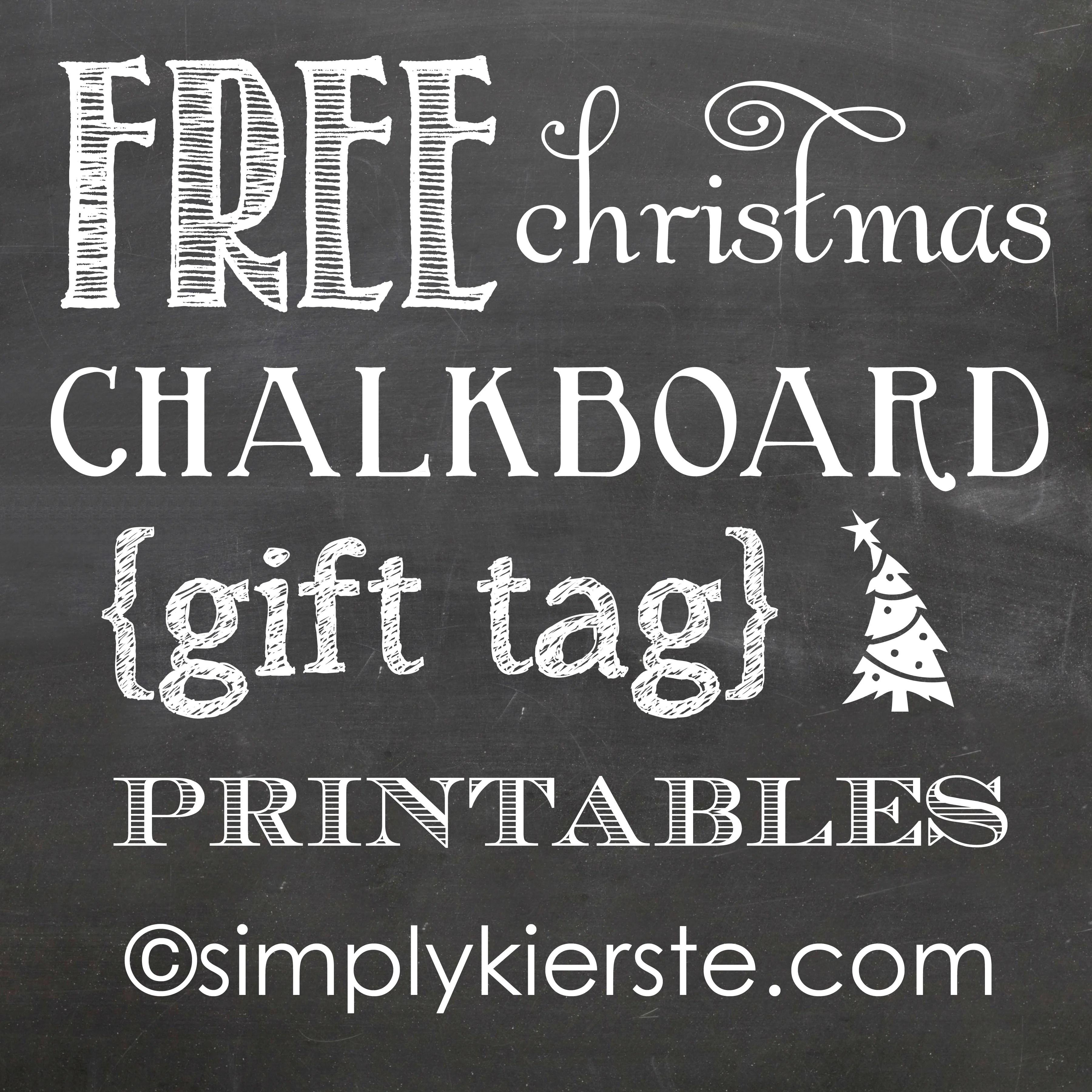 Printable christmas chalkboard gift tags designs