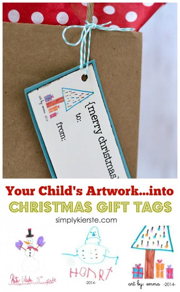 Children's Artwork Christmas Gift Tags | simplykierste.com