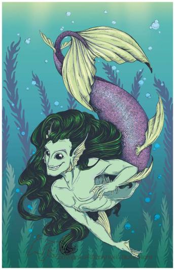 Merman, 1 of 4 Mythological Male Pin-Ups