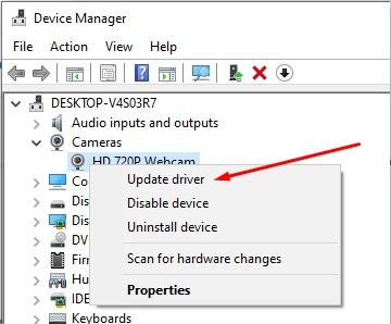 cập nhật trình điều khiển webcam
