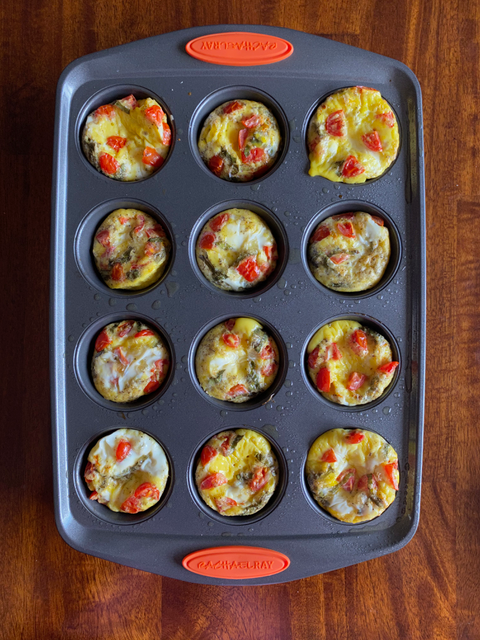 Cook in the oven and then take the muffins out to cool when the cooking process is complete.