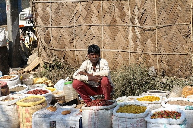 Street vendor selling spices