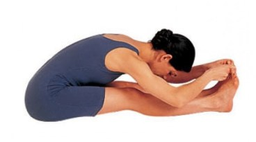 Seated forward bend pose 2