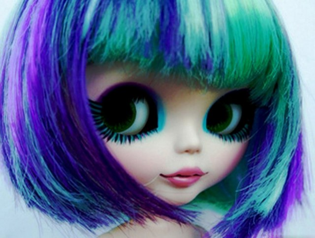 sweet barbie doll image in neon color hairstyle