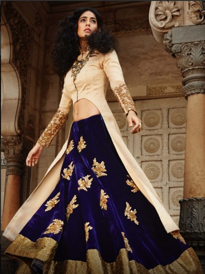 bridal dark color lehenga