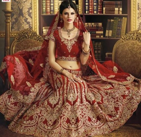 bridal lehenga in mahroon color