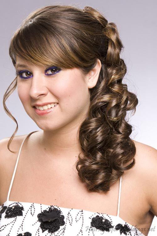 side hard curly ponytails