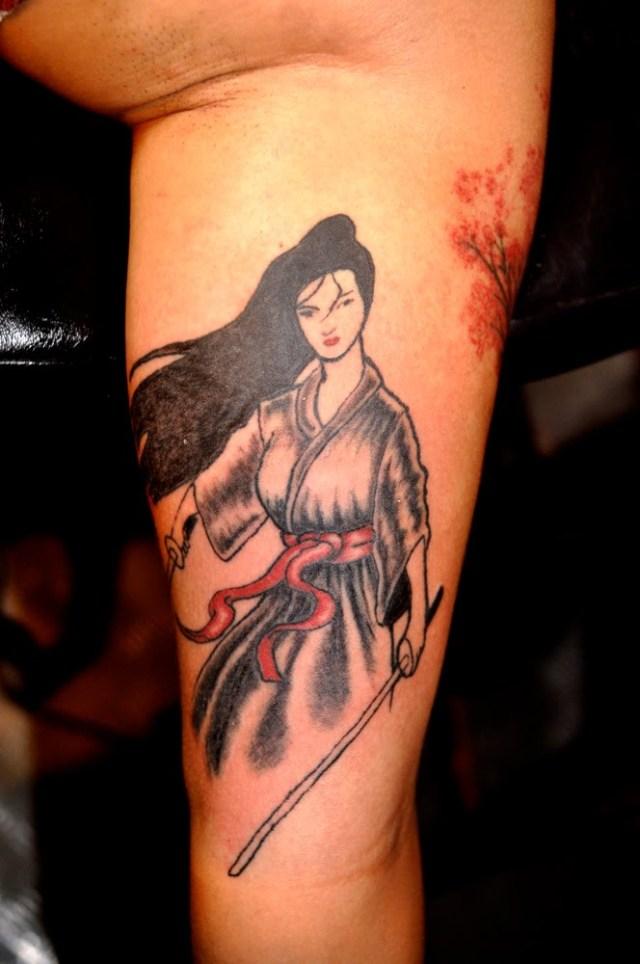 female samurai tattoo design