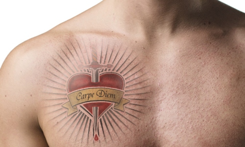 carpe diem sword through heart tattoo design