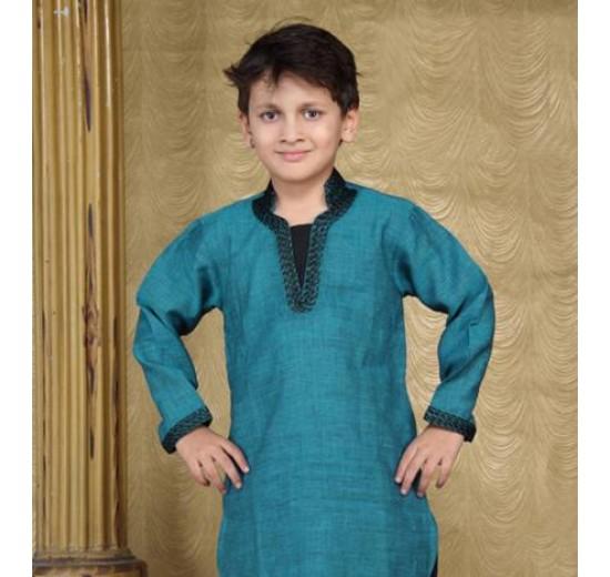 short collar kurta pyjama for boys