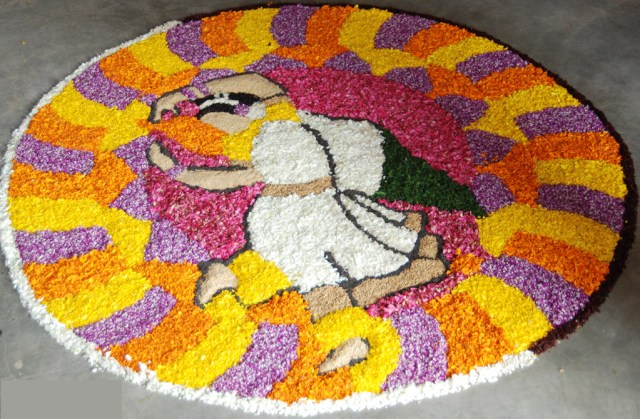 dancing girl with flower pattern rangoli design