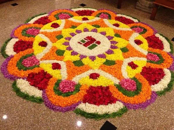 flower pattern rangoli design for diwali