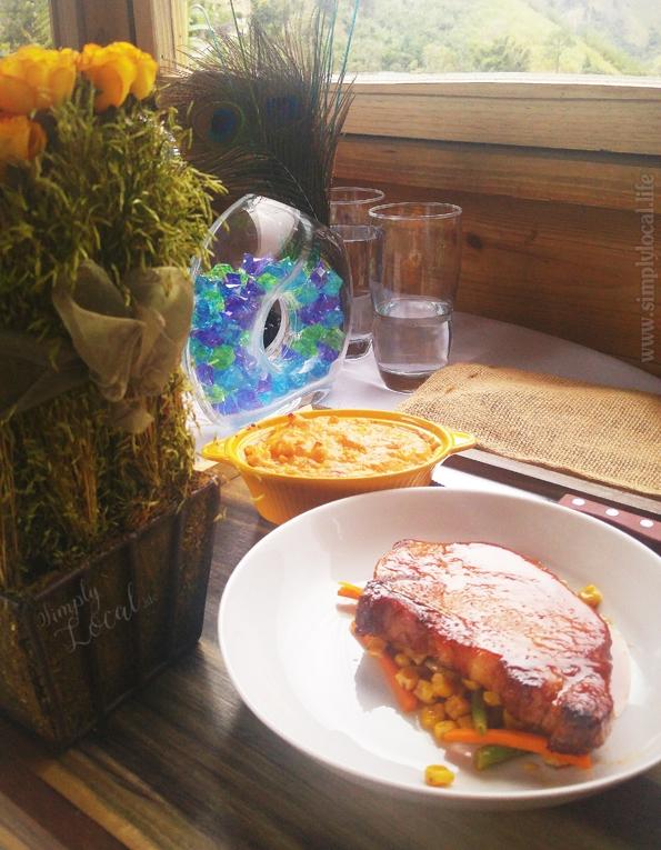 Pork Chop in guava glaze + mac & cheese