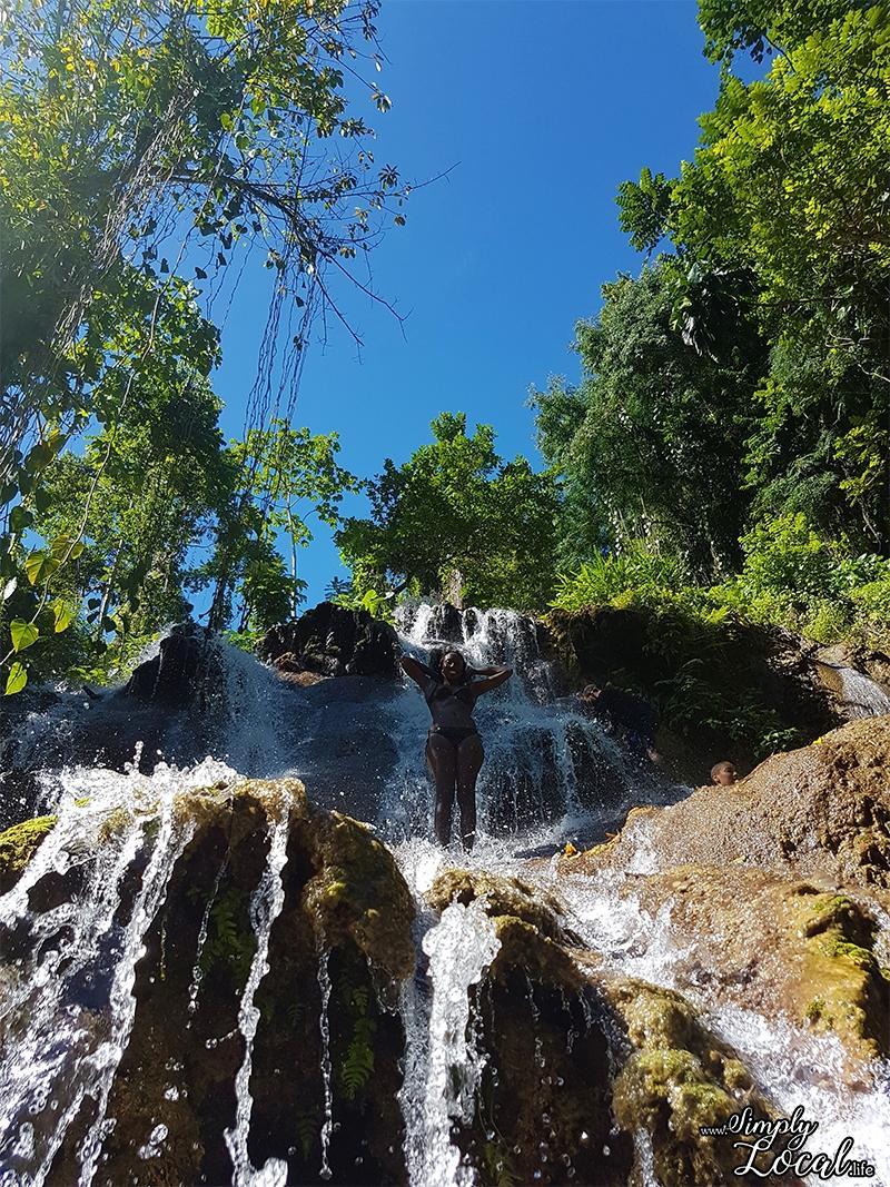 Girl at Scatter Waterfalls Rio grande Valley Portland Jamaica