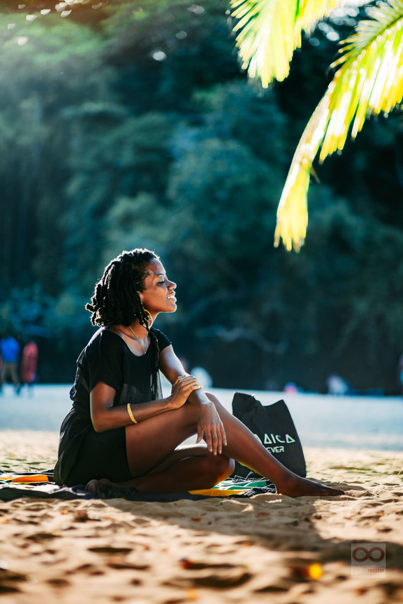 woman enjoying frenchmans cove beach