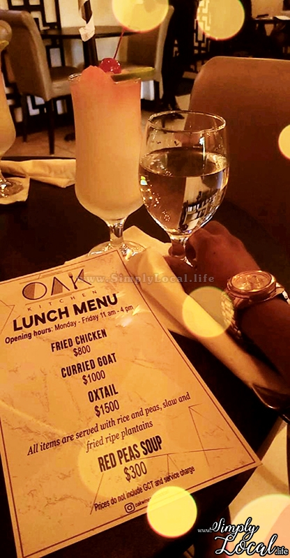 Oak Wine Bar Jamaican lunch menu
