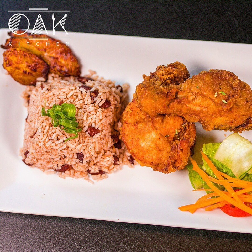 Fried chicken rice and peas lunch at Oak Wine Bar