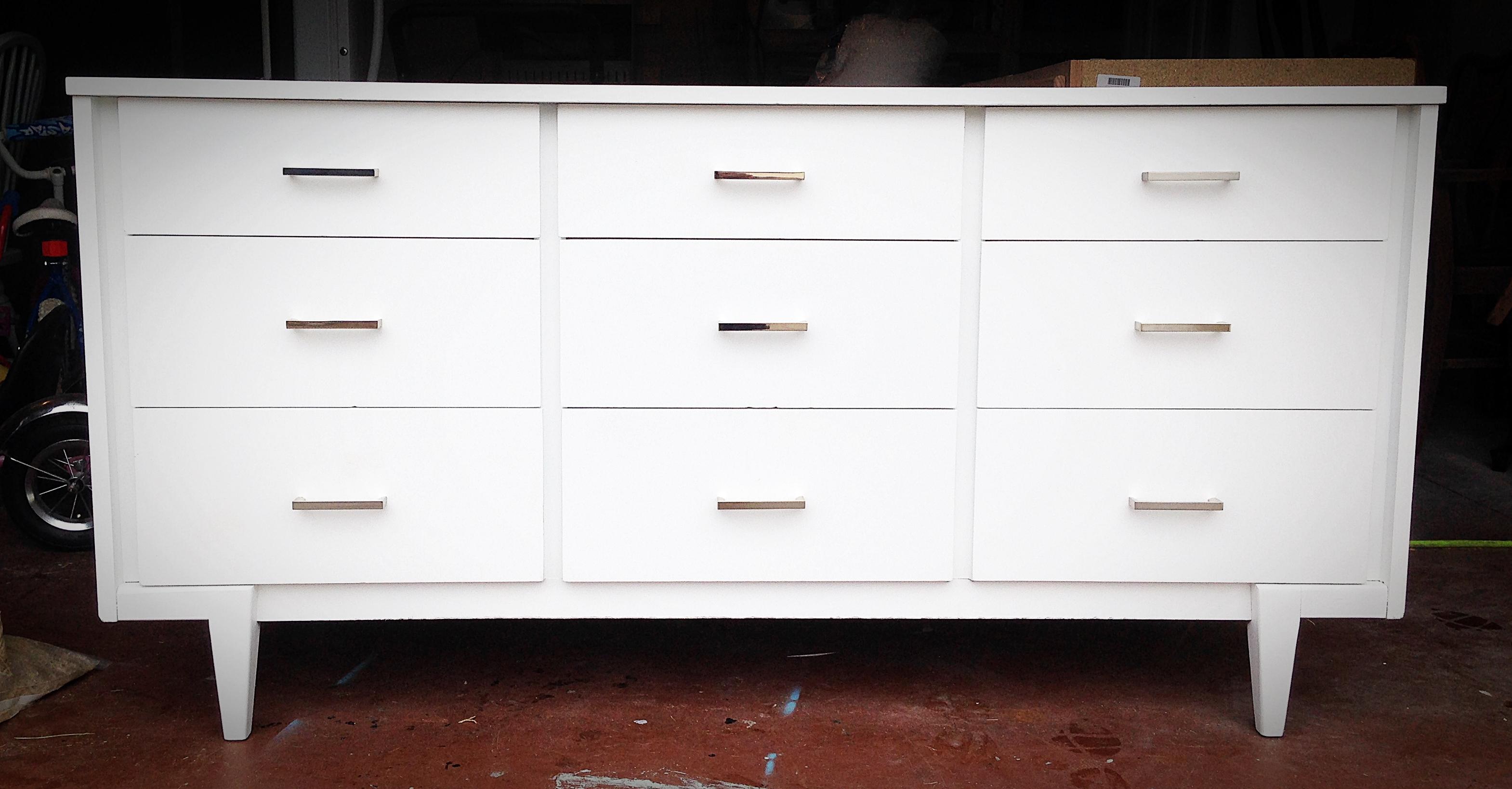 White Midcentury Modern Dresser