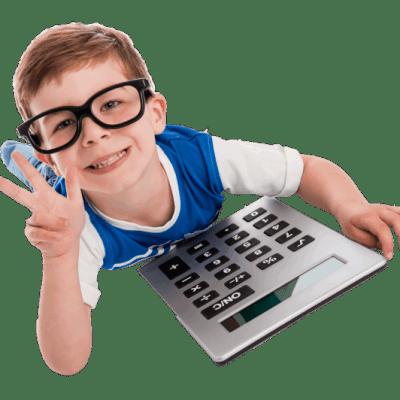 Smart boy with a calculator